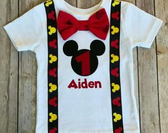 Boys Mickey Mouse Birthday Shirt, Mickey Mouse Party Hat, boys 1st Birthday, Boys Second Birthday, Birthday shirt