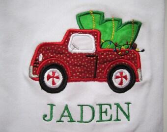 truck with Christmas tree shirt / boy Christmas shirt/ Christmas tree farm shirt/ holiday boy shirt