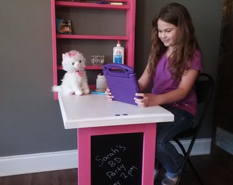"Murphy Girls Desk Folding Homework Station Compact ""Zero Footprint"" Solid Eastern White Pine Handcrafted in USA"