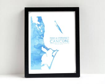 Cancún Mexico Wedding Gift - Personalized custom watercolor modern art print - Quintana Roo, Isla Mujeres
