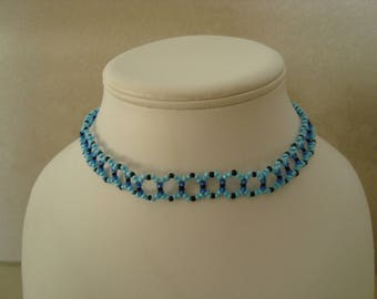 Necklace blue and black seed beads