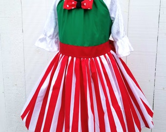 Christmas Minnie Mouse  dress , Minnie Mouse  Christmas dress, Christmas Party Dress  in Red Polka Dots  dress, red polka dot dress