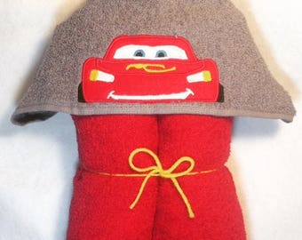 Red Car Personalized Hooded Towel, Car Hooded Towel, Car Towel, Kids Hooded Towel, Personalized Kids Towel, Character Hooded Towels, Kids