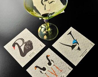 Australian bird letterpress printed coasters