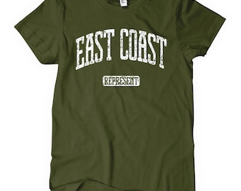 Women's East Coast Represent T-shirt - S M L XL 2x - Ladies East Coast Tee - 4 Colors