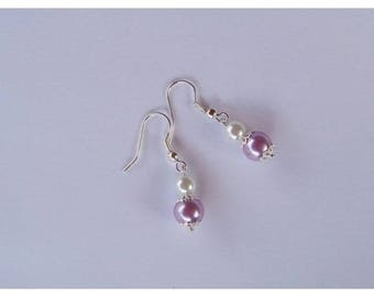 Earrings wedding bridal ivory (white) and purple