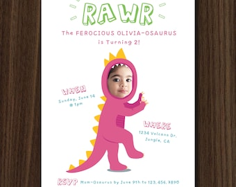 DIGITAL FILE Girl Dinosaur Invite, Girl Dinosaur Invitation Printable, Custom Photo Face Invitation, 5x7 DIY Invitation by MayDetails