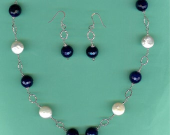 NECKLACE SET Blue Agate Freshwater Coin Pearls Sterling Silver Twisted Link Drop Set