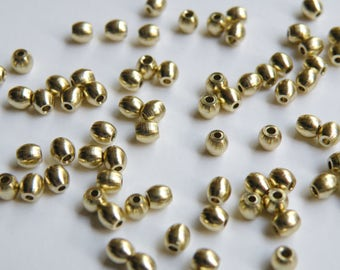 20 Solid Brass oval spacer beads 3mm 2585MB
