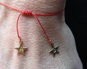 Double Star Adjustable Red String Chinese Knotting Cord Bracelet/monogram/personalized/kids