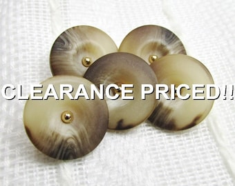 "CLEARANCE! Earth Tones: 5/8"" (15mm) Variegated Tone Buttons with Gold Escutcheons - Set of 5 New / Unused Buttons"