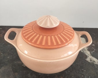 The cutest peach Mid Century covered casserole