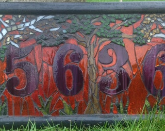 Made to Order Stained Glass Mosaic Address Window