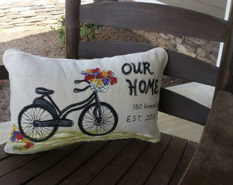 Lumbar, Vintage Bike, Basket, Flowers, Personalized, Address, Indoor, Outdoor Cushions, Porch, Patio, Hand-painted, Pillow Cover, No. 370