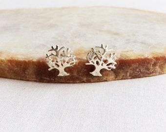 Sterling Silver Tree Stud Earrings - Silver Tree Earrings - Tree Earrings - Tree Jewelry - Tree Earrings Silver - Sterling Silver Earrings