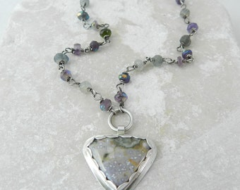 Genuine Ocean Jasper Sterling Pendant Silversmith Necklace Mixed Gem Handmade Artisan Jewelry Blues Purple