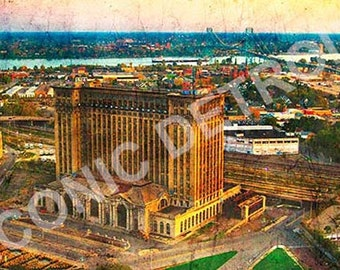 Detroit Photography - Michigan Central Train Station Aerial - Iconic Detroit Photo Print