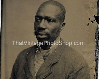 African American Tintype photograph of a Seated Man, Victorian Fashion