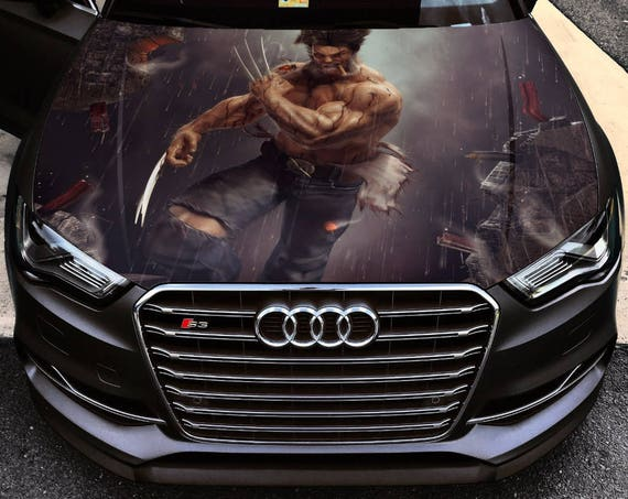 Vinyl car hood wrap full color graphics decal x men wolverine