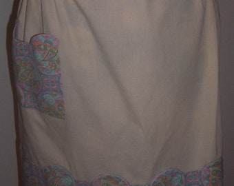 Vintage Paisley Pink and Blue Half Apron,  large