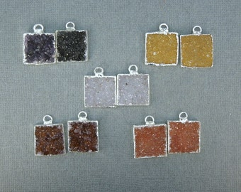 SALE Druzy Druzzy Drusy Petite Square Charm Pendants with Silver electroformed Layered Edges - ONE PAIR (S18B7-03)