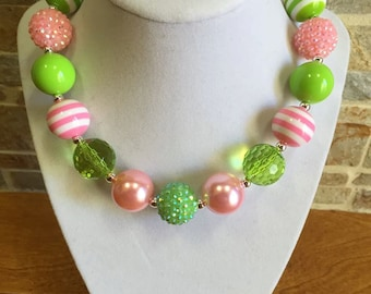 Bubblegum Necklace, Lime, Pink, Spring, Chunky Bubblegum Necklace, Chunky Bead Necklace, Girls Necklace, Gumball Necklace, Photo Prop