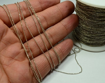 330 Feet 1.2 Roll 100 Meter Silver Tone 1 mm  Faceted Ball Chain