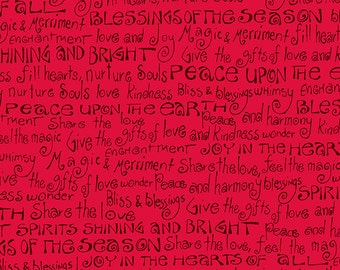 Enchantment Fabric Collection: Black Holiday Text on Red Fabric by Laurel Burch for Clothworks - Listed by the half yard