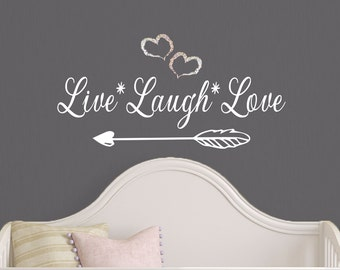 Design Divils 'Live Laugh Love' with Arrow Wall Art Decal. Quality Matte Vinyl with Rainbow Sparkling Vinyl Hearts.