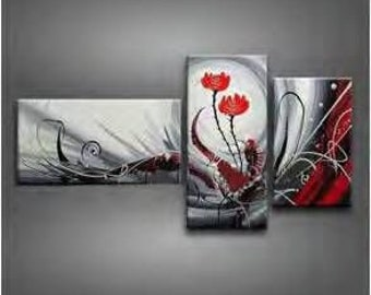 Triptych painting roses red and gray