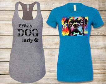 SALE! Dog Lover's T-Shirt Bundle: Choose Adoption Boxer Dog T-Shirt & Crazy Dog Lady Tank Top - Size Small
