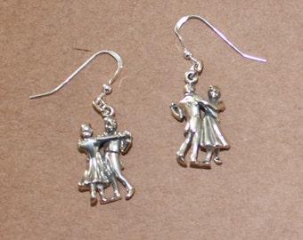 Earrings - Sterling Silver 3D DANCING COUPLE-- Hobby, Arts, Dance
