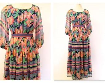 1970's Bright Floral Hippie boho maxi dress