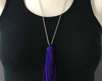 Purple Suede Tassel Necklace, Suede Necklace, Purple Tassel Necklace, Boho Necklace, Layering Necklace, Long Fringe Necklace, Free Shipping