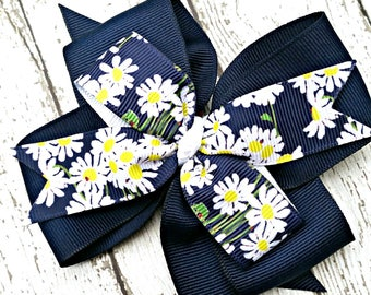 Daisy Ladybug Flower Hair Bow, Navy Blue, White and Yellow Daisies Bow, Bows for Girls Attach 4 Inch Bow to Hair Clips, Barrette or Headband