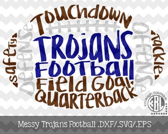Messy Trojans Football design INSTANT DOWNLOAD in dxf/svg/eps for use with programs such as Silhouette Studio and Cricut Design Space