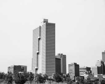 Fort Worth, Texas, Building, Architecture, Tallest Building - Burnett Plaza Black and White