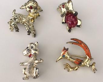 4 Pc Vintage petit animal pins/Brooches  Lot