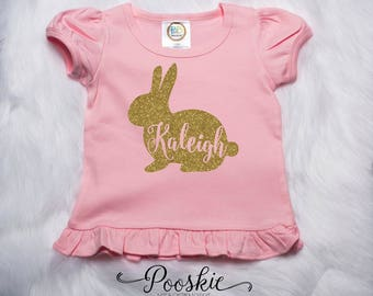 Bunny Rabbit Shirt, Easter Egg Hunting Shirts, Personalized Easter Shirt, My 1st Easter Shirt, Easter Outfit, Easter Bunny Outfit, Pink P78