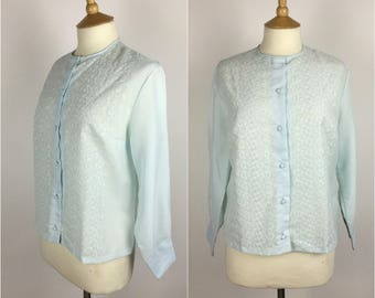 Vintage 1950s Blouse - 50s Blue Embroidered Top - Long Sleeved - UK 14 / US 10 / EU 42 - Medium -