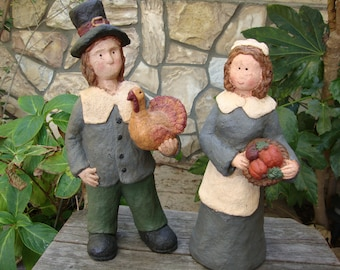 Thanksgiving centerpiece Large pilgrims primitive Fall Table decor paper mache figurines Cottage Chic home decor fall decorations