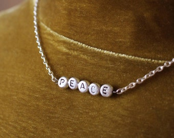 NEW silver PEACE chain necklace 90's  - gift idea: have one personalised