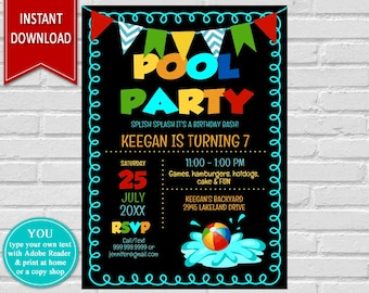 Pool Party | Pool Party Invite, Birthday Invitation, Pool Invitation, Summer Party, Birthday Party, Swimming Party, Pool Birthday,Chalkboard