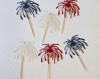 4th Of July Fireworks cupcake toppers; Firework cupcake toppers; 4th of July; Independence day