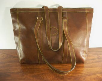 Vintage EDDIE BAUER Large Leather Tote Weekender Shopper Work Travel Bag Laptop Handbag