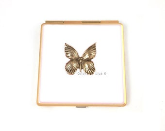 Butterfly Square Compact Mirror Hand Painted Enamel White Enamel Inlaid with Art Nouveau Antique Gold Insect with Personalized Options