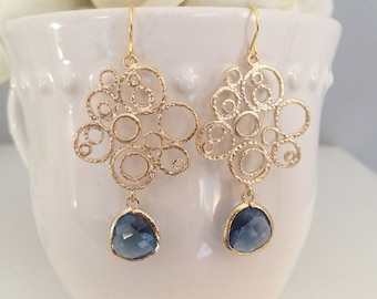 Gold Earrings, Sapphire Earrings, Bridesmaid Earrings, Bridesmaid Jewelry, Bridesmaid Gift, best friend, september birthstone, navy wedding