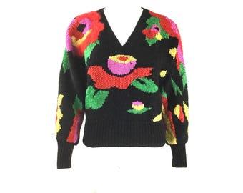 RARE Antonella Preve Floral Abstract Print Sweater Sz P / S