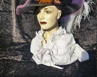 Purple mermaid leather pirate hat