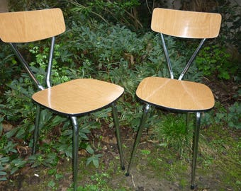 DISCOUNT ! Pair of 1960s TUBLAC formica chrome and imitation clear teak chairs